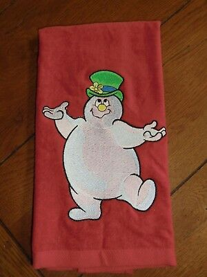 Embroidered White Bathroom Hand Towel /& Cloth Set Snowman Face Carrot Nose H1258