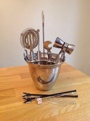 Bar Tool Set Ice Bucket 18/8 Stainless Steel Playboy & Glass Stirrers