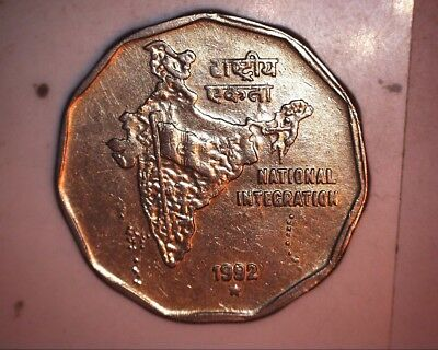 1992 india 2 rupees strong double die reverse