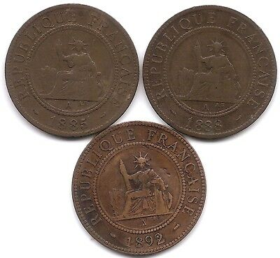 French Indo-China Lot of 3 1 Cents Coins KM 1 1885 A, 1888 A & 1892 A
