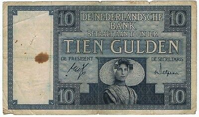 Netherlands P. 43d, 05.03.1932 10 Gulden - Fine with Stains, Pin Holes Nicks.