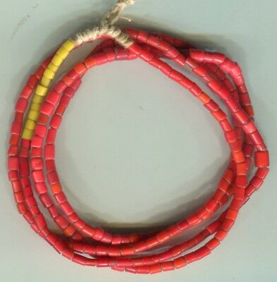 African Trade beads Vintage Venetian glass nice old red glass white heart like