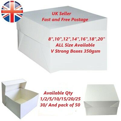 """High Quality White Cake Box 8"""" 10"""",12,14,16 Inch With Lid & Base style V Strong"""