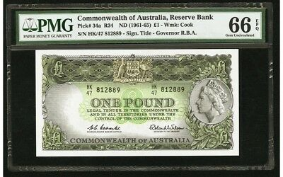 Commonwealth OF AUSTRALIA RESERVE BANK 1 POUND BANK NOTE GEM INC PMG 66 PICK 34a