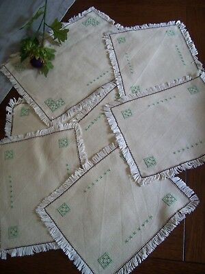 Vintage  linen Embroiderd tray cloth and 6 placemats .