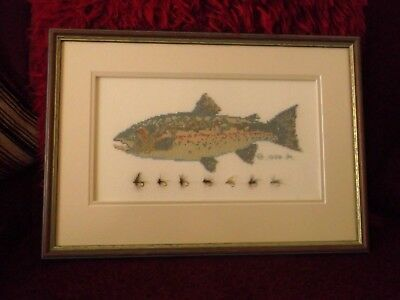 Vintage Handmade Woolwork/needlework Trout And Flies Picture
