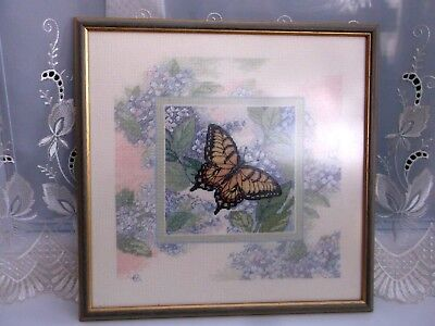 Vintage Handmade Woolwork/needlework Large Butterfly Picture