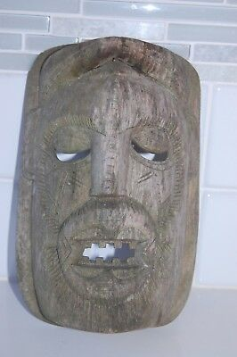 Rare Unique Antique Hand Carved Primitive Solid Wood Folk Art Mask