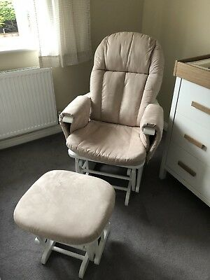 Tutti Bambini Gliding Nursing Chair and Footstool. White Wood With Beige Covers