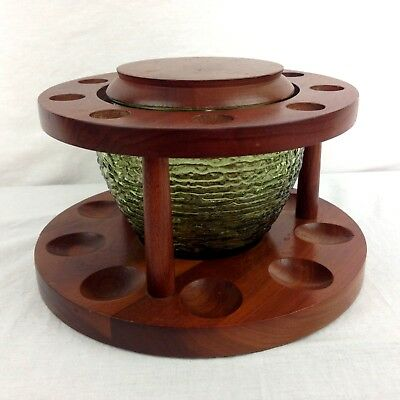 Vintage Wooden 9 Pipe Holder Circular Stand With Green Glass Jar Humidor