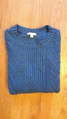 Cable Knit Gap Maternity Sweater in Teal Size Small - Cotton and Wool Blend