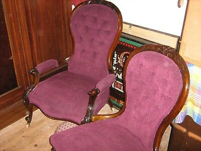 Antique Pair Victorian mahogany Spoon Backed  chairs 19th Century