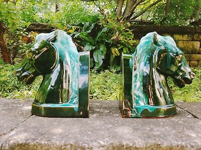 "VINTAGE BMP HORSE HEAD BOOKENDS PR BLUE MOUNTAIN Art Pottery Green Glaze 8"" TALL"