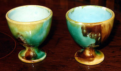 Vintage : A rare pair of 19th century Majolica Egg Cups, in greens and yellow