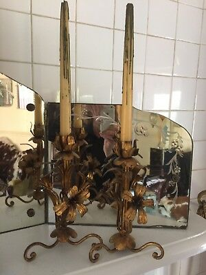 RARE PAIR ANTIQUE Italian Tole Gold Gilt Lily candelabra candle holders candles
