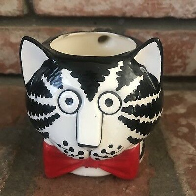 Kliban Ceramic Cat Coffee Mug Sigma Taste Setter 3-D Red Bow Cup Vintage