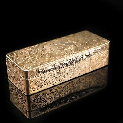 Antique 22K Gold Plated Silver Snuff Box - c19th Century