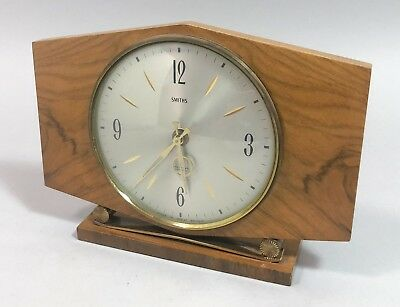 Art Deco style wooden mantelpiece clock Smiths battery operated etched dial