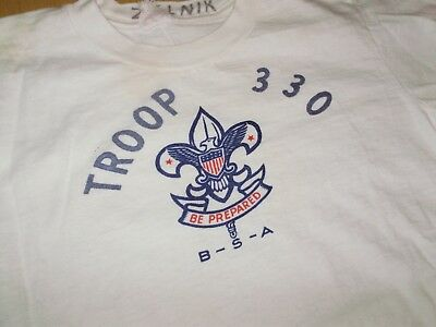 VINTAGE 1960's BSA BOY SCOUTS TROOP 330 T SHIRT youth large AMERICANA