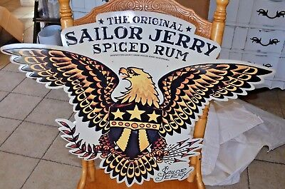 SAILOR JERRY SPICED RUM ~ Eagle Crest Tattoo 2015 NOS Metal Tin Advertising Sign