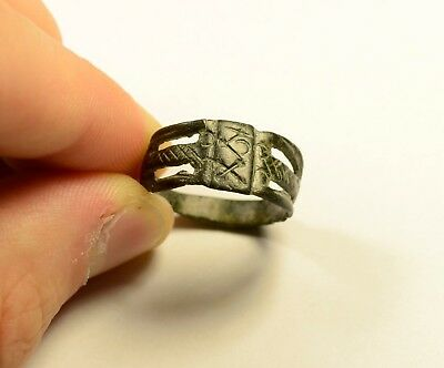 Interesting Byzantine Bronze Finger Ring With Inscribed Bezel- Wearable Artifact