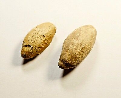 Ancient Greek Military Lead Sling Bullet Shot - LOT OF 2 / 68 grams