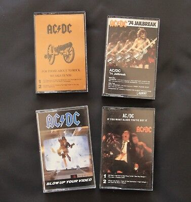 AC/DC Cassette Lot 1970-80s, For Those, Jailbreak, If You Want Blood, Blow Up