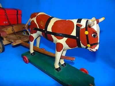 vintage/OLD  wood wooden Folk Art  LARGE  Pull toy display ... cow & CART