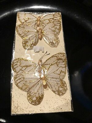 4x Large Craft Wire Feather Butterflies.