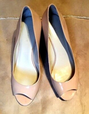 d120b90ed70c Nine West Natural Nude Beige Patent Wedge Peep Toe Shoes Size 9.5W (UK7.
