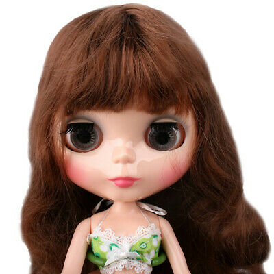 """7 Connected 12"""" Neo Brown Translucent Doll Blythe Shiny Skin Takara Face"""