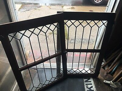 Pr Leaded Glass Doors. For Cabinet Or Use As Windows For Restoration Or Reuse