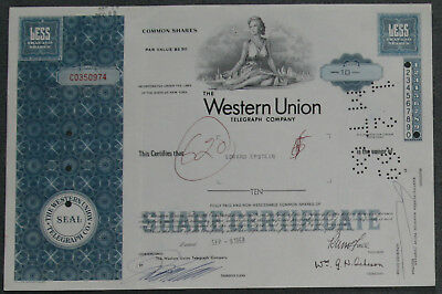 The Western Union Telegraph Company 1968 10 Shares .