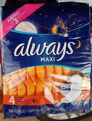 Always Maxi Pads Overnight With Leak Guard & Flexi Wings 33 CT Damaged package