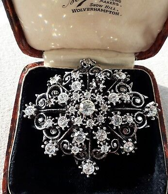 Vintage Stamped MIRACLE Brooch  DIAMANTE Xmas ART DECO Sparkle FREE GIFT BAG