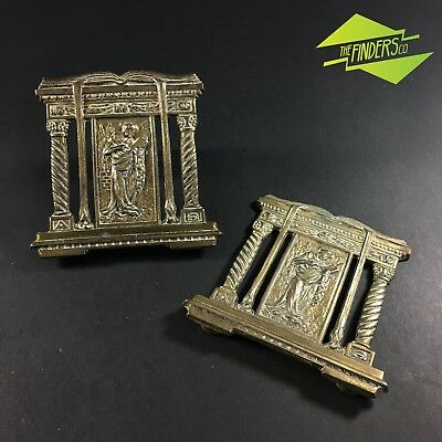 SET VINTAGE c.1920's BRASS BOOK ENDS EXPANDABLE BOOK ENDS LETTER RACK REVIVAL