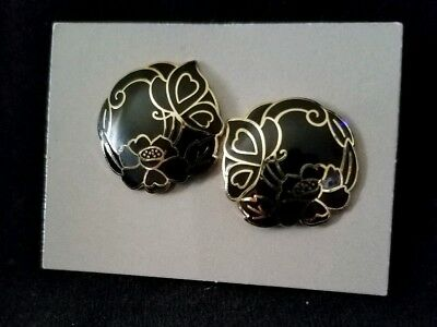 Avon Vintage 1987 Black Cloisonne Earrings with Surgical Steel Posts