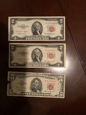 LOT 1928, 1928 G: $2 and $5 Dollars Red Seal, FOUR Notes