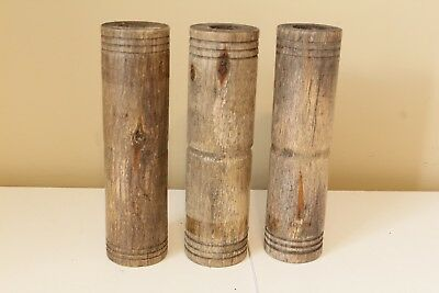 Lot of 3 Antique Yarn Thread Industrial Spools Spindles