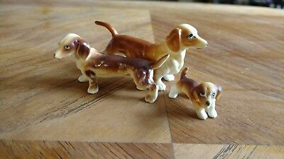 vintage bone china lot miniature dachshund wiener dog puppy animal  figurine
