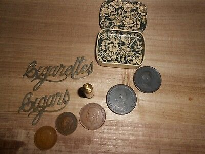 Lot of Vintage Items,Coins-Lipstick-Cigar/Cigarette plaques-George III penny's