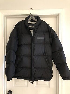 Men's Timberland Down Jacket Puffer Quilted XL Black Silver Lining