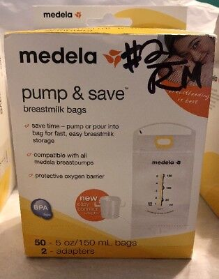 Medela Pump & Save Breast-milk 5oz. Storage Bags  50 Ct. 2 Adapters Included New