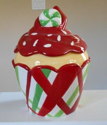 Christmas Cupcake Cookie Jar Boston Warehouse Collectible Immaculate