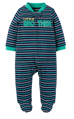 Little Brother Baby Boy Sleep N Play Pajamas NWT Carters Blue Stripe Footed 9 mo