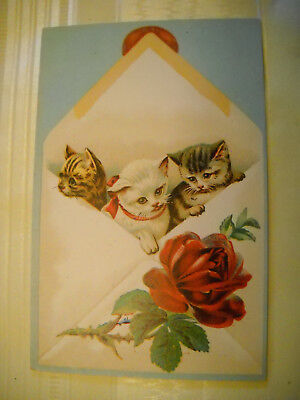 3 CATS IN ENVELOPE antique Victorian scrapbook card CHROMOLITHOGRAPH rose detail