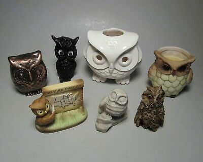 Owl 7 Item Mixed Lot Figurines Paperweight Candle Holder Incense Burner Owls