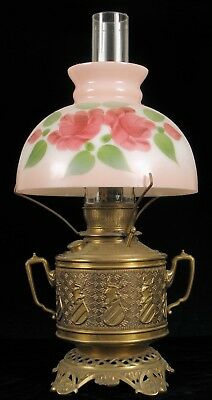 Antique Brass Knight Crown Hand Painted Globe Oil Lamp Gone With The Wind
