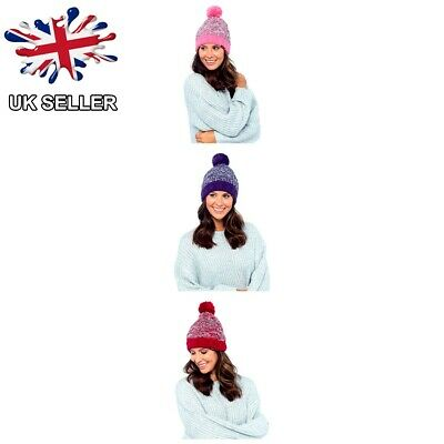 f75d19406 LADIES WOMENS GIRLS Plain Marl Soft Chunky Knit Fleece Lined Winter ...