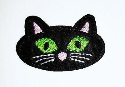 """Black Cat Face Embroidered Iron On Patch Applique 2.25"""" X 1.40"""" Halloween Cute"""